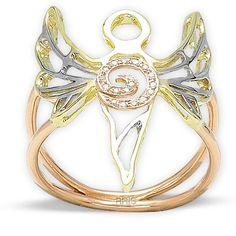 Huzur Meleği Azrail Altın Melek Yüzük, 14 ayar, meleklerin ışığı, özel tasarım, hediyelik, altın yüzük
