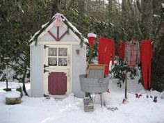 """""""Ever wonder where Mrs. Claus and the elves do the wash for such a large work force?"""" says HGTVGardens community member  Barbara Stanley , who turns her garden shed into a miniature version of the North Pole for the holidays."""