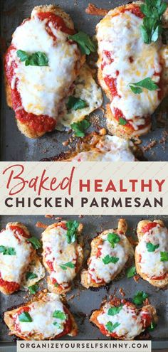 This baked chicken parmesan recipe starts with tender chicken cutlets dredged in tasty breadcrumbs, smothered in sauce and cheese, and baked to perfection. dinner recipes for family healthy Baked Chicken Parmesan {With Video!} - Organize Yourself Skinny Best Baked Chicken Parmesan Recipe, Healthy Chicken Parmesan, Chicken Parmesean, Healthy Baking, Healthy Snacks, Breakfast Healthy, Eating Healthy, Dinner Ideas Healthy, Healthy Delicious Dinner Recipes