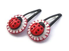 novelty button hair clips - Google Search