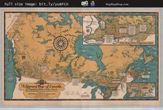 Deacon's Literary #Map of #Canada (1936) — http://www.bigmapblog.com/2012/deacons-literary-map-of-canada-1936/ — #literature #writing