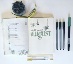 "74 Likes, 4 Comments - hi! i'm emily. (@sweet_italics) on Instagram: ""a monthly spread for #august.  . . . #bulletjournal #bulletjournaling #bulletjournallove…"""