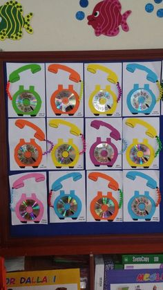 Crafts for kids - Telephone craft idea for kids Crafts and Worksheets for Preschool,Toddler and Kindergarten Kids Crafts, Summer Crafts, Diy And Crafts, Arts And Crafts, Paper Crafts, Arte Elemental, Cd Art, Pinterest Crafts, Art N Craft