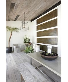 Love the indoor use of the Thai-style pots and the reclaimed wood floors in this Malibu spa resort. Santa Monica, Reclaimed Wood Floors, Weathered Wood, Malibu, Wooden Ceilings, Stone Flooring, Interior Exterior, Interior Design, The Ranch