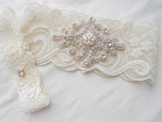 Wedding Garter Set Ivory Stretch Lace Bridal Garter Set With Classic Pearls and  Rhinestones Bridal Garter Set.. $38.50, via Etsy.