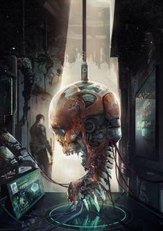 Cyberpunk art by Cyberpunk 2077, Arte Horror, Horror Art, Gothic Horror, Fantasy World, Fantasy Art, Alchemy, Science Fiction Art, Shadowrun