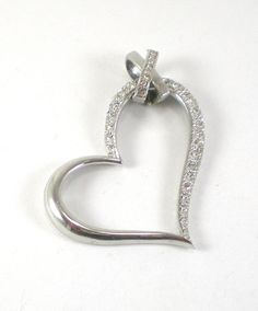 Vintage+Rodium+Silver+Heart+Pendant+With+Pave+Stone+Settings+Love+Valentine+For+Her