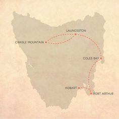 Tasmanian Road Trip Map, 7 days
