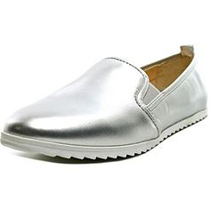 Bar Iii Opal Women Round Toe Synthetic Loafer (90 PEN) ❤ liked on Polyvore featuring shoes, loafers, silver, wedge shoes, slip on loafers, slip on shoes, pointed loafers and slip on dress shoes