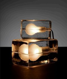Glass transparent ice block lamp.