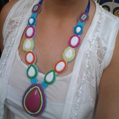 Colorful beaded bib necklace  statement necklace by LLiLLiRuas, $25.00