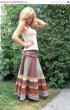 I like this skirt! I wouldn't wear it in my new camping lifestyle, but I can use this patchwork concept for tops, shorts and capris too! CIJ Sale Eco long boho SKIRT clothing upcycled patchwork by zasra, $106.25