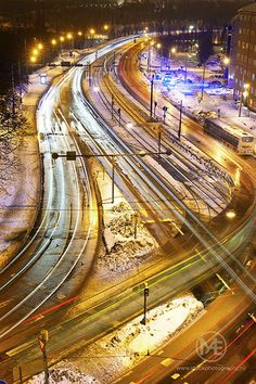 Light trails of cars, trams and emergency vehicles on a winter day in Helsinki.  © Arno Enzerink / www.stockphotography.nu All rights reserved.