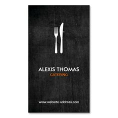 Fork and Knife Logo for Catering, Chef, Restaurant Business Card Template. This great business card design is available for customization. All text style, colors, sizes can be modified to fit your needs. Just click the image to learn more!