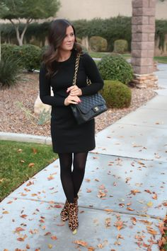 Black Jacquard Dress, Black Opaque Tights, Leopard Booties, Black Quilted Bag, Banana Republic, Target, Joie, Chanel 2