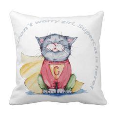 Superhero cat watercolor illustration on cushion #Cushion #Cats