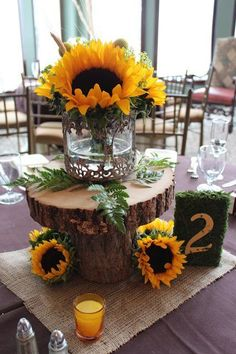 Fall Sunflower Wedding Centerpieces with Wood Base