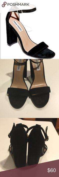 Steve Madden Carrson Sandals Black Suede Size 7.5 Steve Madden Carrson Sandals Black Suede Size 7.5. These have been worn one time and are in excellent condition. Steve Madden Shoes Heels