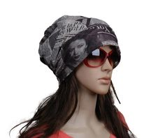 chiffion women turban newspaper print hat hip hop summer spring sutumn fashion hat female pullover $8.96