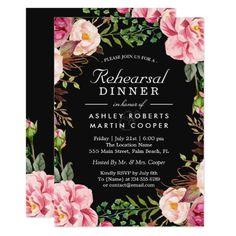 Pink Wedding Rehearsal Dinner Modern Classy Pink Floral Wedding Rehearsal Dinner Card