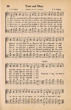 Printable Antique Hymn Book Page - TRUST & OBEY ~~~from KnickofTimeInteriors.blogspot.com