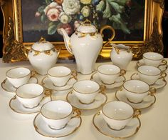 Late 1800's Limoges Tea Set Service of 26-pieces in White & Gold, c1894-1900