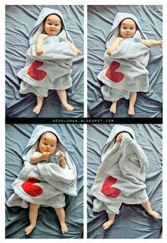 Tutorial - Bath towel for baby made from housecoat / Ręcznik dziecięcy ze szlafroka