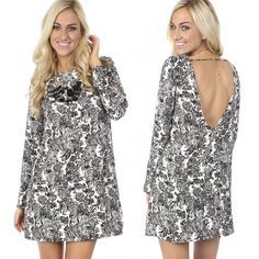 """Everyone needs some black and white in their closet NEW """"abstract b&w shift dress"""" ($39.99) available in store at #tria and online at www.sophieandtrey.com! #sophieandtrey #freeshipping #trend #fashion #ootd #boutique #cute #dress"""