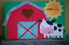 "Glendie's Goodies: Create A Critter  ""Cow's it going?"" Used fabric and ribbon.  Sewing on paper is always fun"