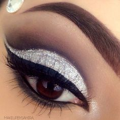 This is everything! Beautiful silver shimmer blended eye.  #Beauty #Makeup #Blended
