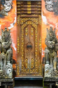 Photographer's Note    A magnificent door in the main shopping street in Ubud, Bali. You would think this way a doorway to a Temple but it is the entrance to a small boutique Hotel.