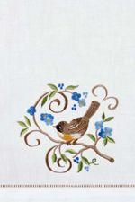 "Bird & Blue Floral Guest Towel 14"" x 22"""