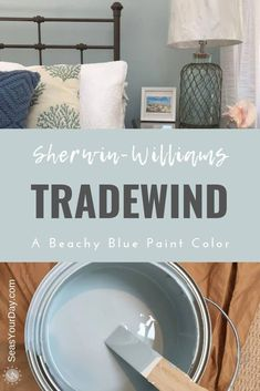 Sherwin-Williams Tradewind Paint Color - Seas Your Day - - Sherwin-Williams Tradewind Paint Color is among the most popular coastal paint colors preferred by interior designers. Coastal Paint Colors, Bedroom Paint Colors, Interior Paint Colors, Paint Colors For Home, Spare Bedroom Paint Ideas, Paint For Walls, Blue Paint For Bedroom, Paint Colors For Bathrooms, Paint Colors For Office