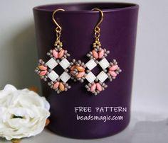 Free pattern for beaded earrings Ksenia U need: seed beads 11/0 tila beads miyuki superduo