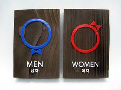 Colors Male and Female Bathroom Signs Restroom Vintage Wall Symbols His and Hers Copper or Choose from 40