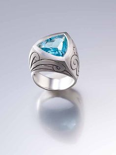 Engraved Triangle Statement Armor Ring- celtic, gemstone, engagement, silver, for men, medieval, knight, lord of the rings, game of thrones