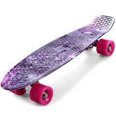 Freestyle Cruiser Skateboard Long board Teenager Street Artistic Graphic Galaxy Space Plastic Board 22 Inche Complete Skateboard