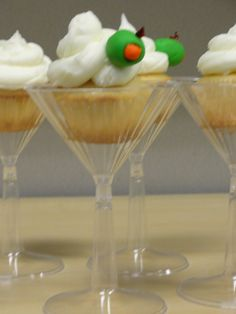 Martini Birthday cupcakes - Festive martini birthday cupcakes designed for a coworker who love the drink (since I couldn't bring the real thing into the office!)