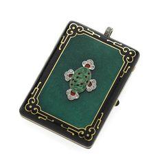 An art deco enamel, diamond, jadiete jade and 14k gold compact,