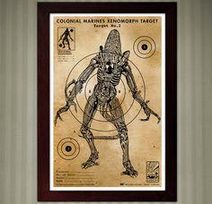 Aliens - Xenomorph Vintage Shooting Target - 11x17 by KnerdKraft on Etsy