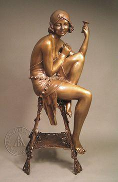 Bronze sculpture by JE Mir, art nouveau | JV
