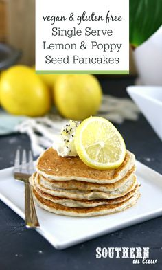 Single Serve Vegan Lemon and Poppy Seed Pancakes – Quick and easy to make, these Lemon and Poppyseed (or Chia Seed) Pancakes use simple ingredients you already have in the fridge and pantry for a delicious breakfast or brunch. Gluten free, healthy, refined sugar free, low fat, clean eating friendly, egg free, dairy free and makes one single serving of soft, fluffy pancakes. Top with maple syrup, butter, cream cheese or whatever you fancy!