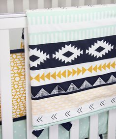 Aztec Gold and Mint Blanket - the perfect accent in a tribal-inspired nursery!