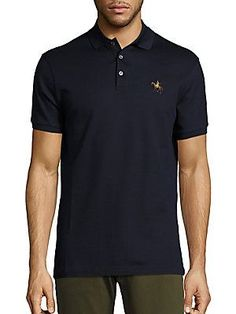 Ralph Lauren Purple Label Classic Solid Polo - Navy - Size