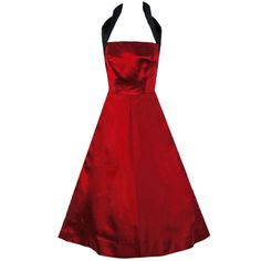 Sorelle Fontana Couture Ruby-Red and Black Satin Halter Party Dress Black Satin Dress, Red Velvet Dress, Satin Dresses, Dress Red, Rome, Future Fashion, Up Girl, Beautiful Outfits, Vintage Outfits