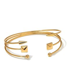 Argento Vivo Stud and Arrow 3-Row Gold-Plated Sterling Silver Cuff Bracelet