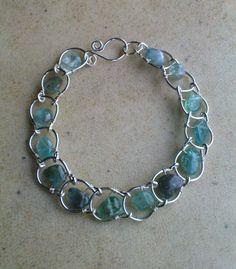 Designer Apatite gemstone wire wrap bracelet by glagoabazubadusa