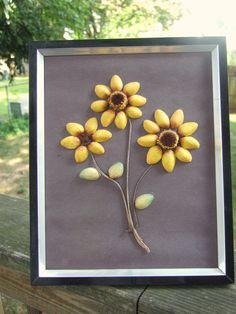 Sunflower Pistachio Art Piece. $20.00, via Etsy.