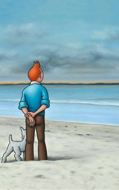 He is known for his unusual paintings of Tintin and Captain Haddock, who are portrayed next to nude and sexualized women. His series is highlighting a surrealist and poetic universe. Comics Illustration, Illustrations, Haddock Tintin, Tin Tin Cartoon, Captain Haddock, Herge Tintin, Comic Art, Comic Books, Still Life Artists