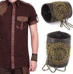 Vintage Gothic Steampunk Leder Armband Herren braun Leather bracelet brown VG506